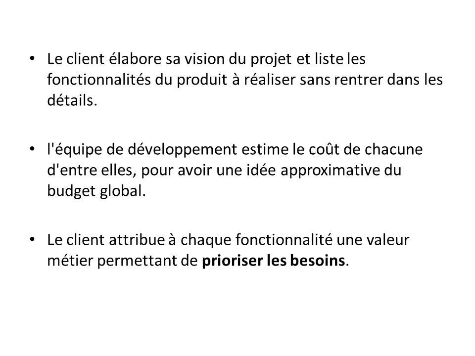 Le client élabore sa vision du projet et liste les fonctionnalités du produit à réaliser sans rentrer dans les détails.