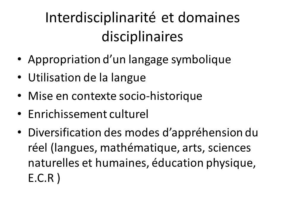 Interdisciplinarité et domaines disciplinaires