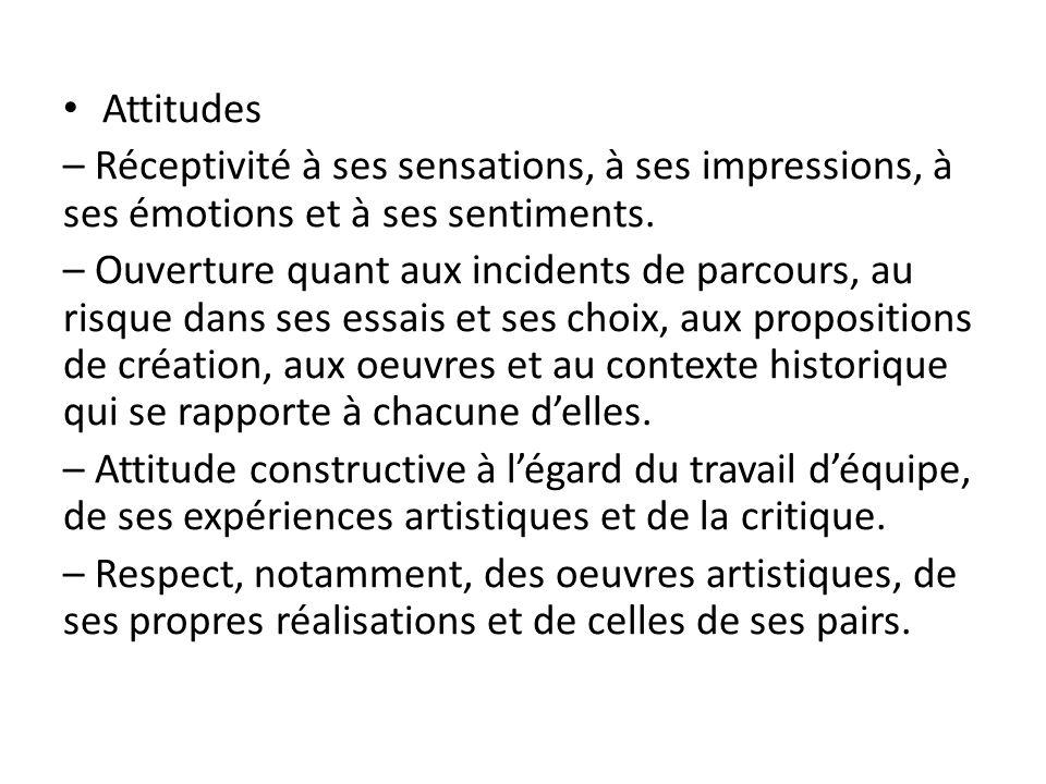 Attitudes – Réceptivité à ses sensations, à ses impressions, à ses émotions et à ses sentiments.
