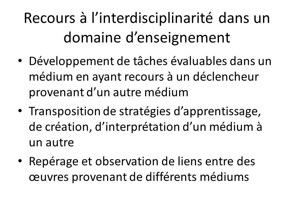 Recours à l'interdisciplinarité dans un domaine d'enseignement