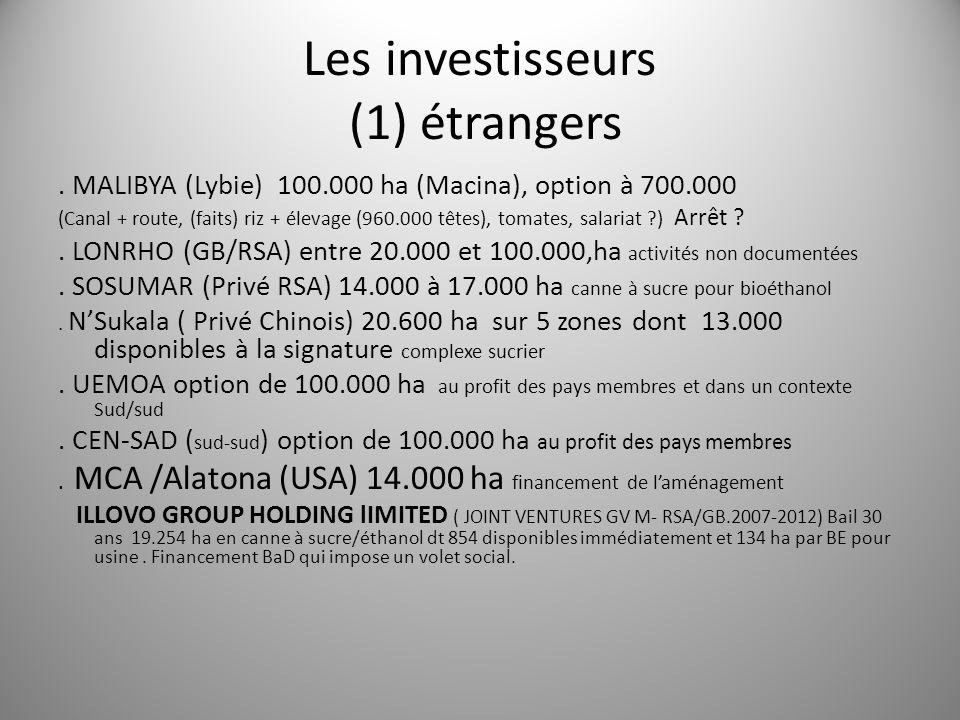 Les investisseurs (1) étrangers