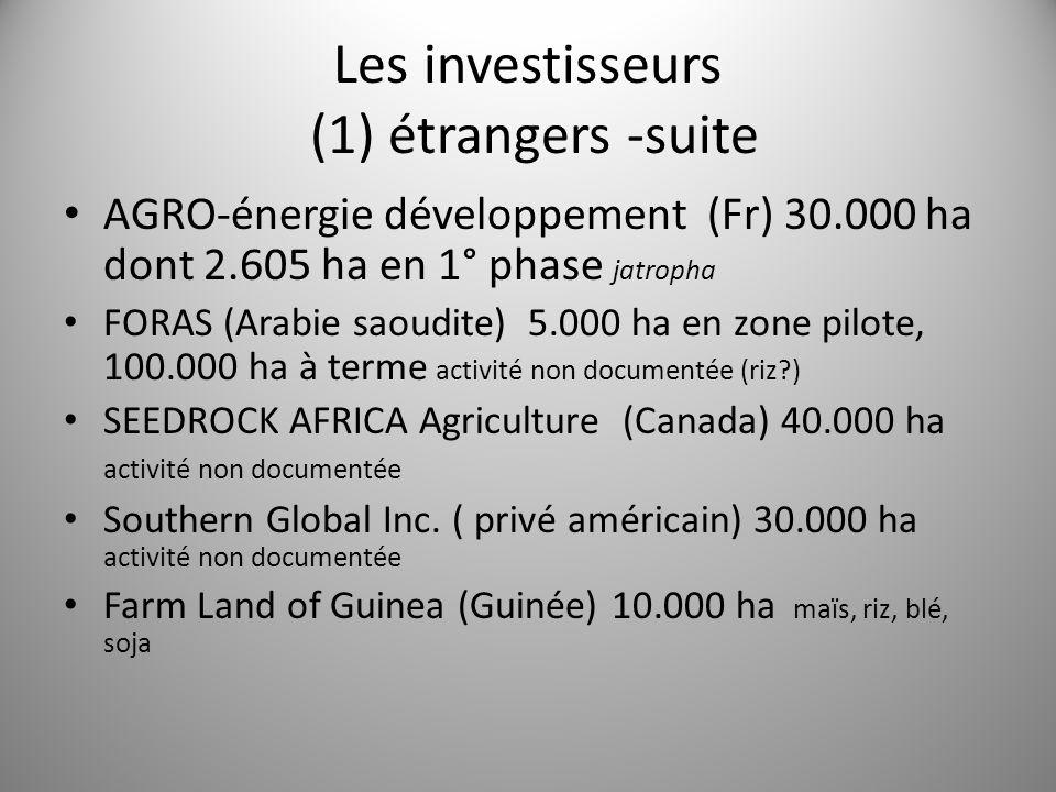 Les investisseurs (1) étrangers -suite