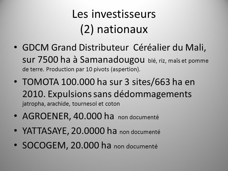 Les investisseurs (2) nationaux