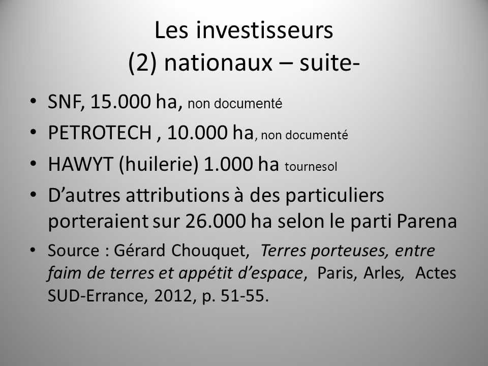 Les investisseurs (2) nationaux – suite-