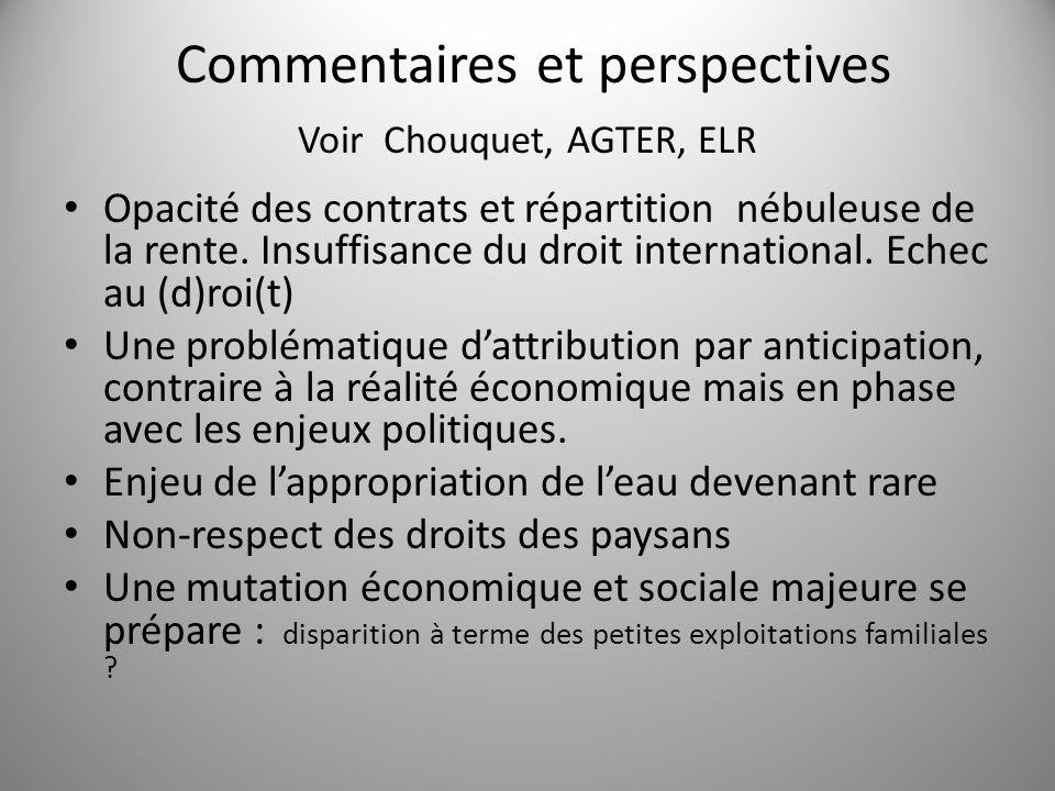 Commentaires et perspectives Voir Chouquet, AGTER, ELR