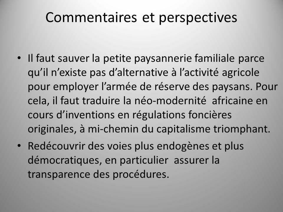 Commentaires et perspectives