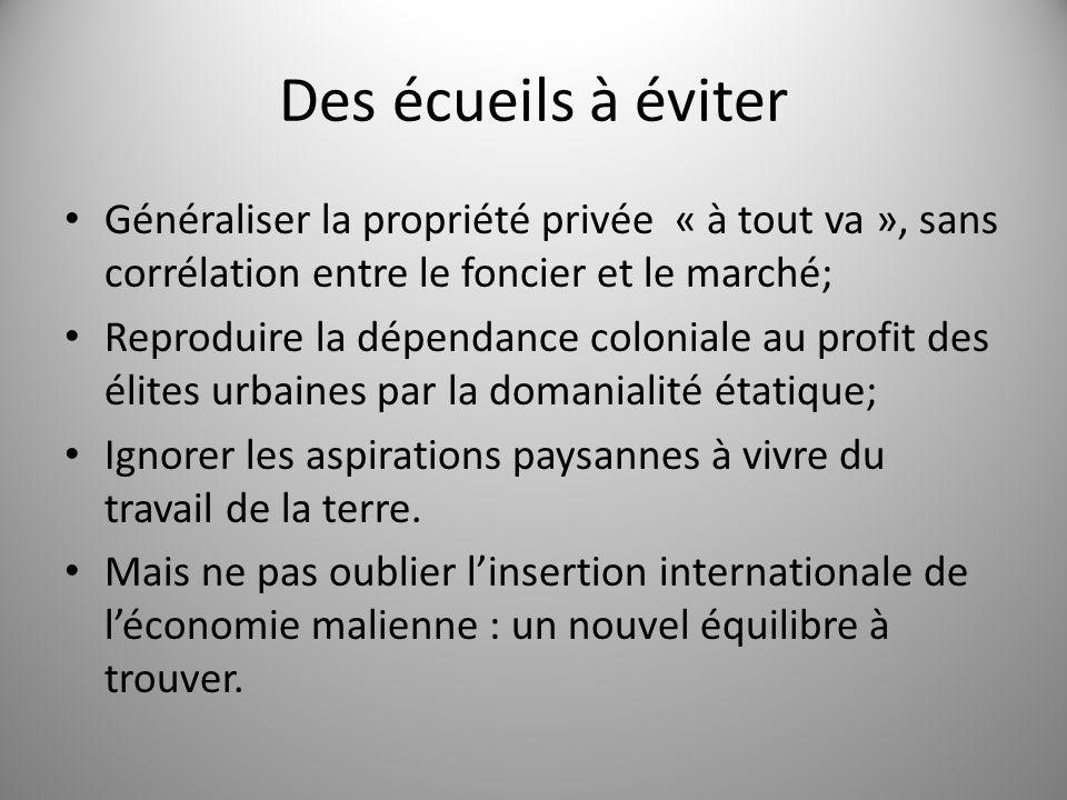 Des écueils à éviter Généraliser la propriété privée « à tout va », sans corrélation entre le foncier et le marché;