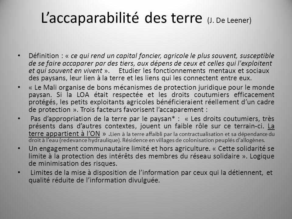 L'accaparabilité des terre (J. De Leener)