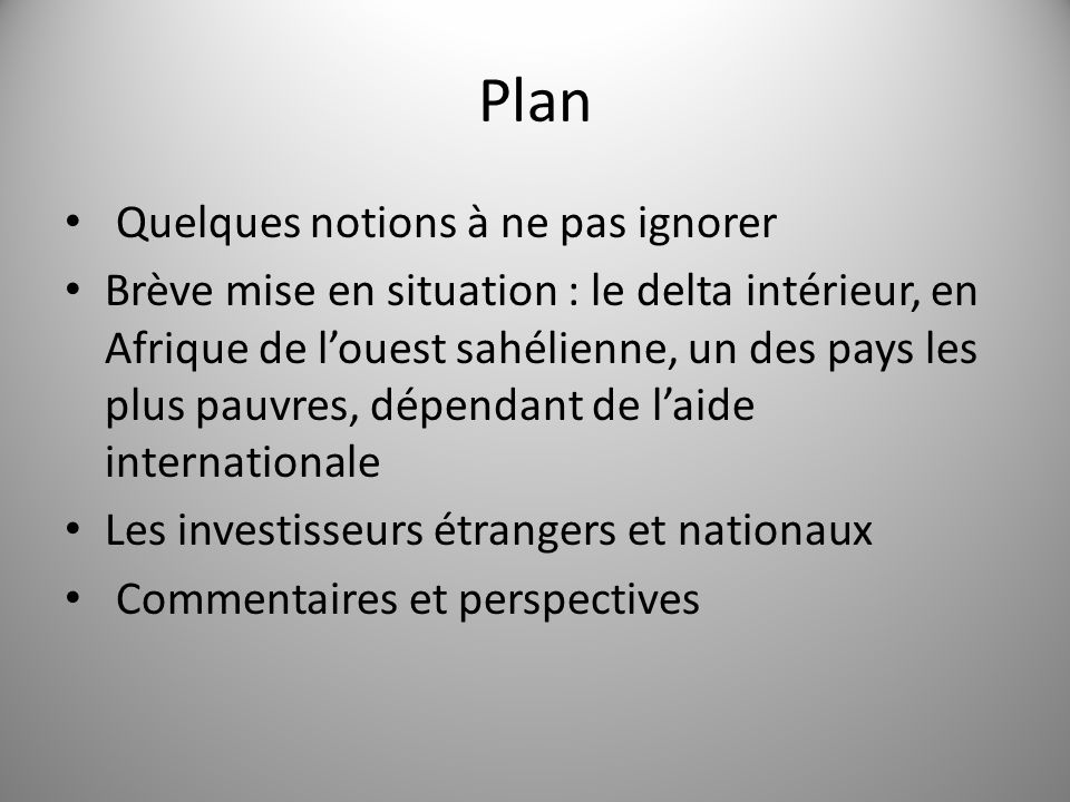 Plan Quelques notions à ne pas ignorer