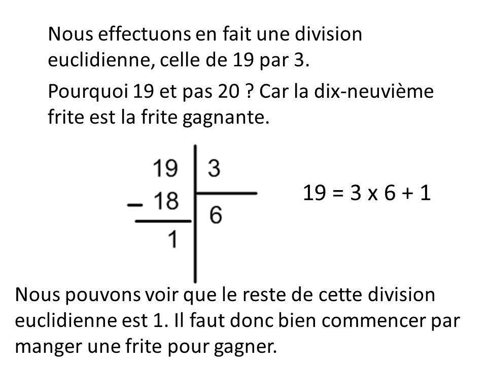 Nous effectuons en fait une division euclidienne, celle de 19 par 3.