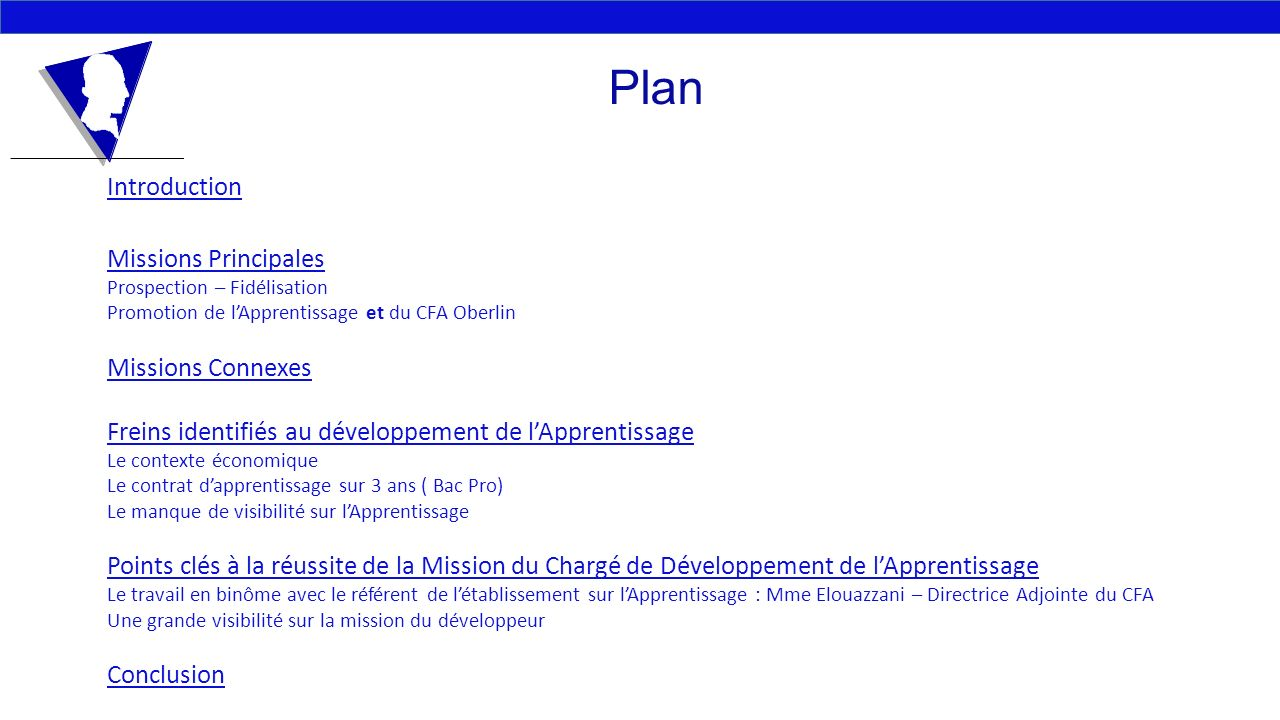 Plan Introduction Missions Principales Missions Connexes