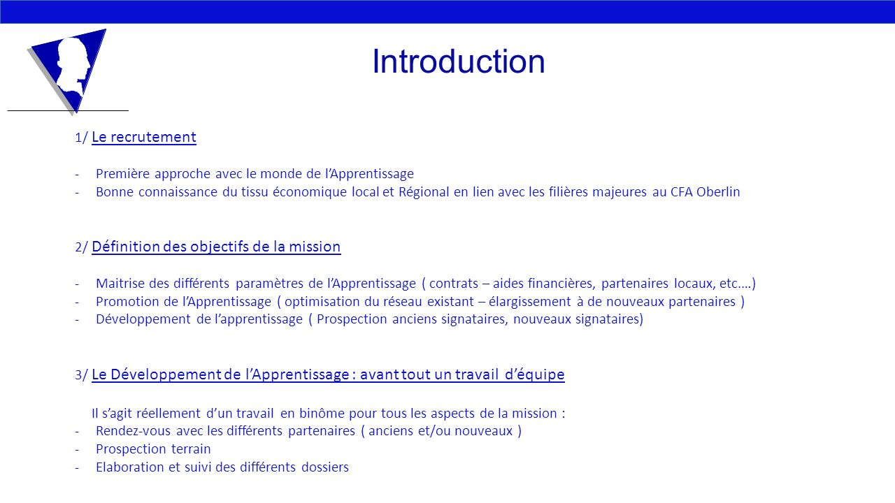 Introduction 1/ Le recrutement