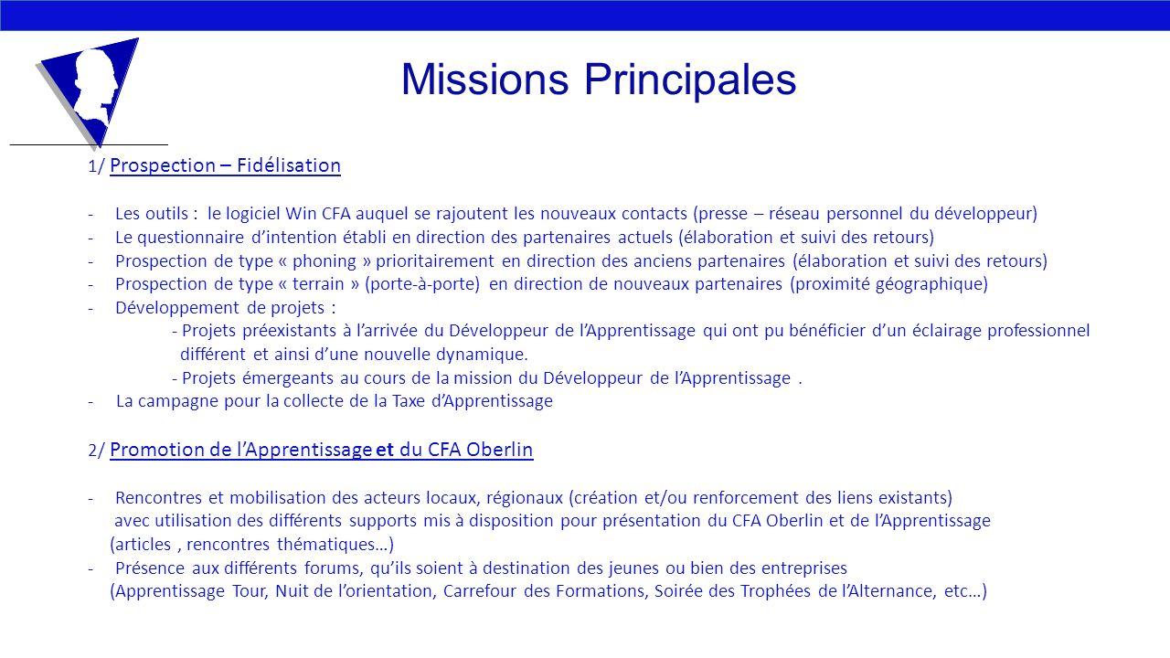 Missions Principales 1/ Prospection – Fidélisation