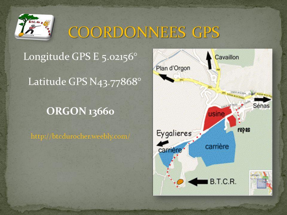 COORDONNEES GPS Longitude GPS E 5.02156° Latitude GPS N43.77868° ORGON 13660 http://btcdurocher.weebly.com/