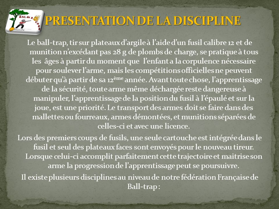 PRESENTATION DE LA DISCIPLINE