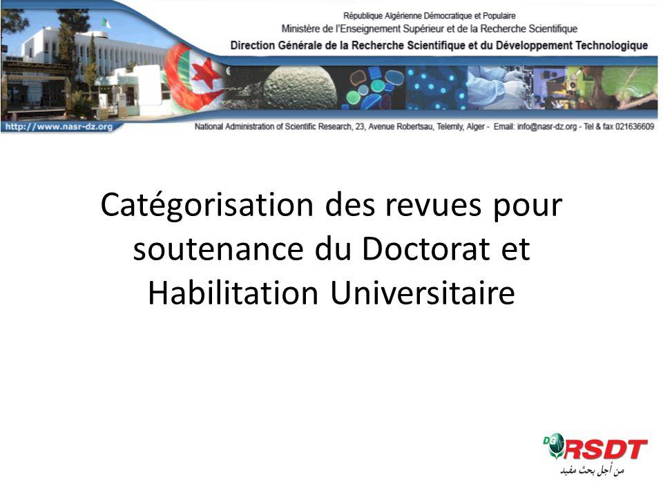 Catégorisation des revues pour soutenance du Doctorat et Habilitation Universitaire
