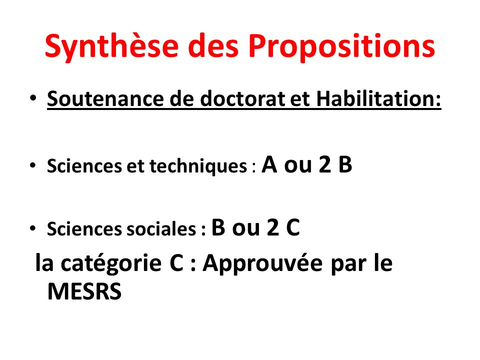 Synthèse des Propositions