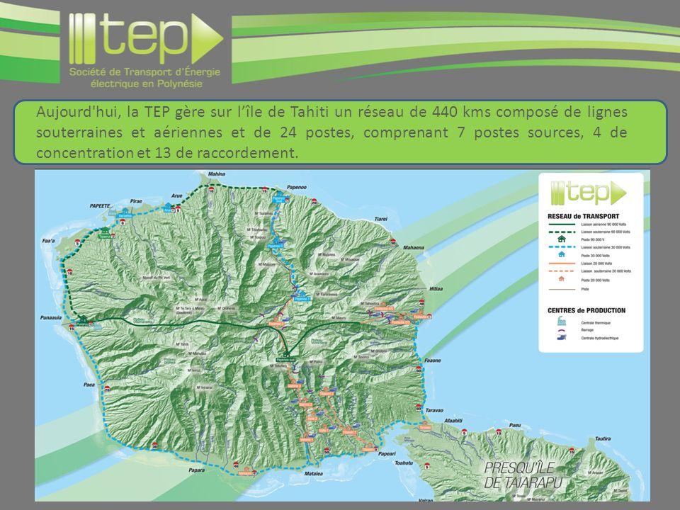 Aujourd hui, la TEP gère sur l'île de Tahiti un réseau de 440 kms composé de lignes souterraines et aériennes et de 24 postes, comprenant 7 postes sources, 4 de concentration et 13 de raccordement.