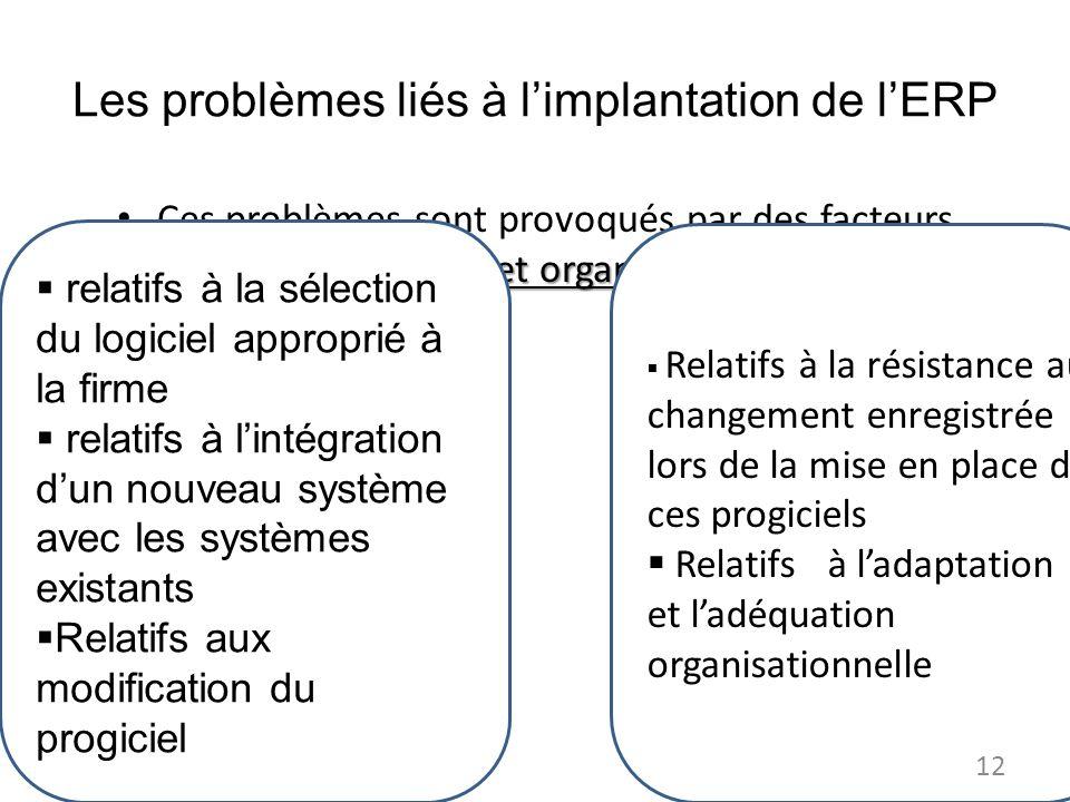 Les problèmes liés à l'implantation de l'ERP