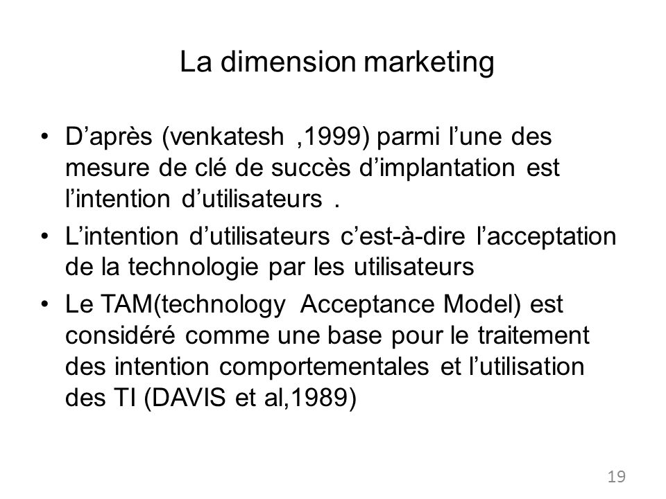 La dimension marketing