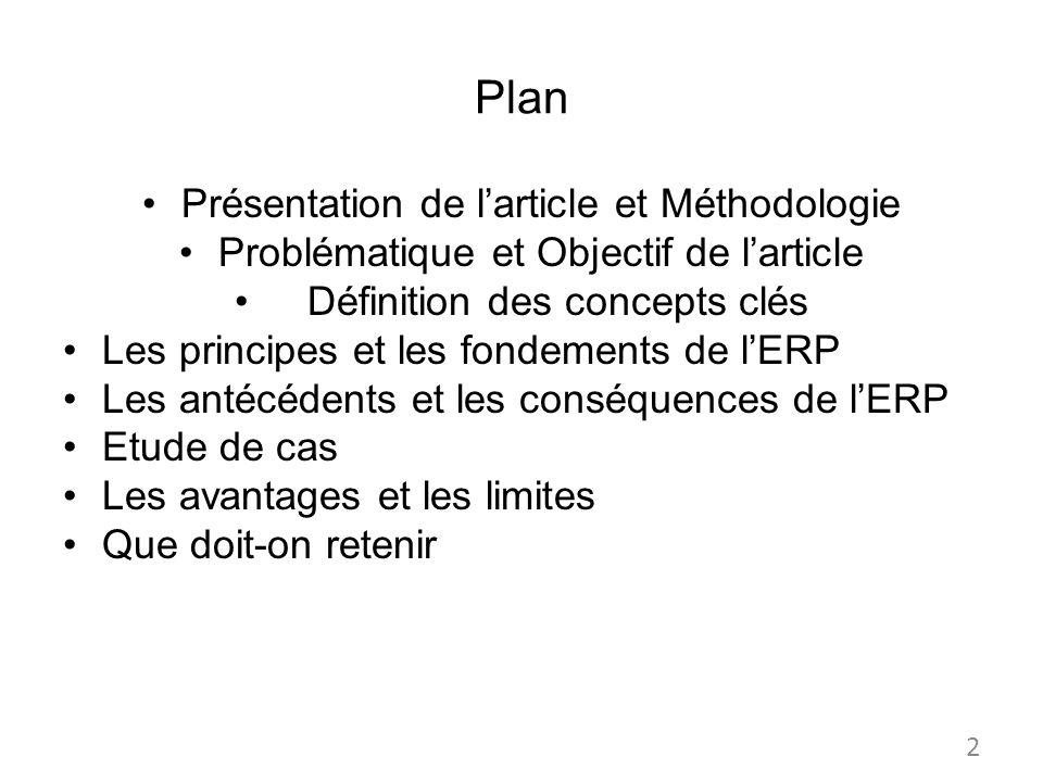 Plan Présentation de l'article et Méthodologie