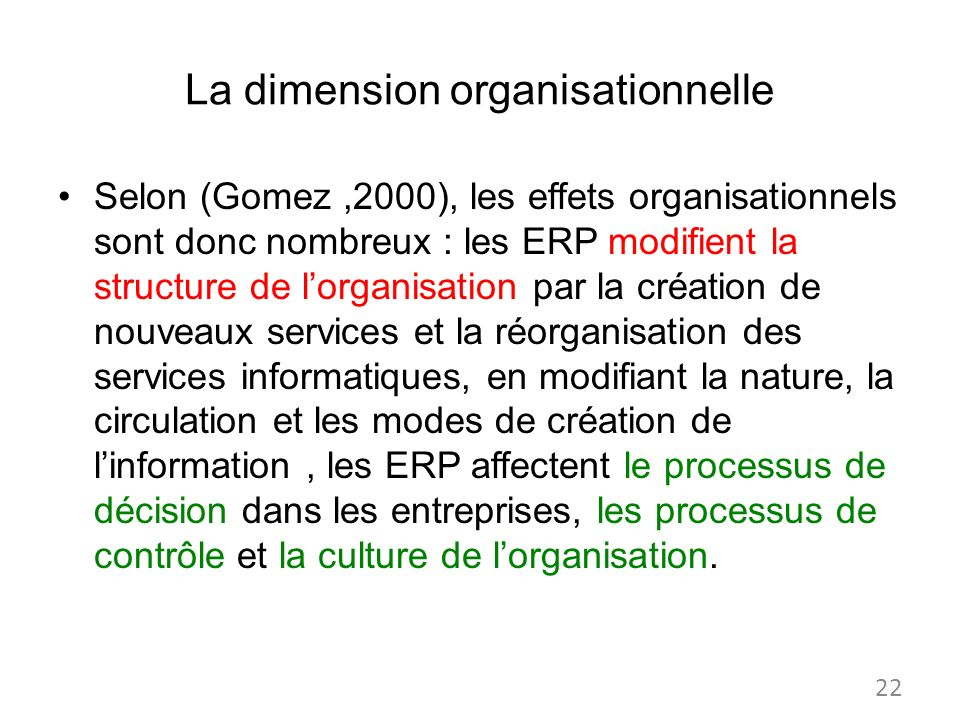 La dimension organisationnelle