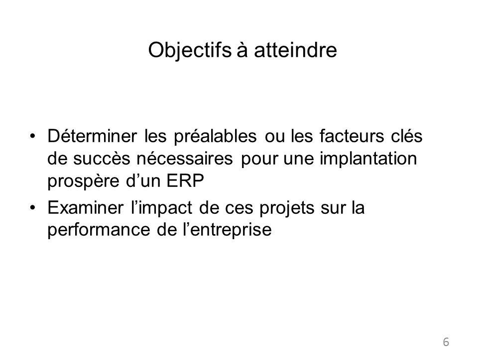 Objectifs à atteindre Déterminer les préalables ou les facteurs clés de succès nécessaires pour une implantation prospère d'un ERP.