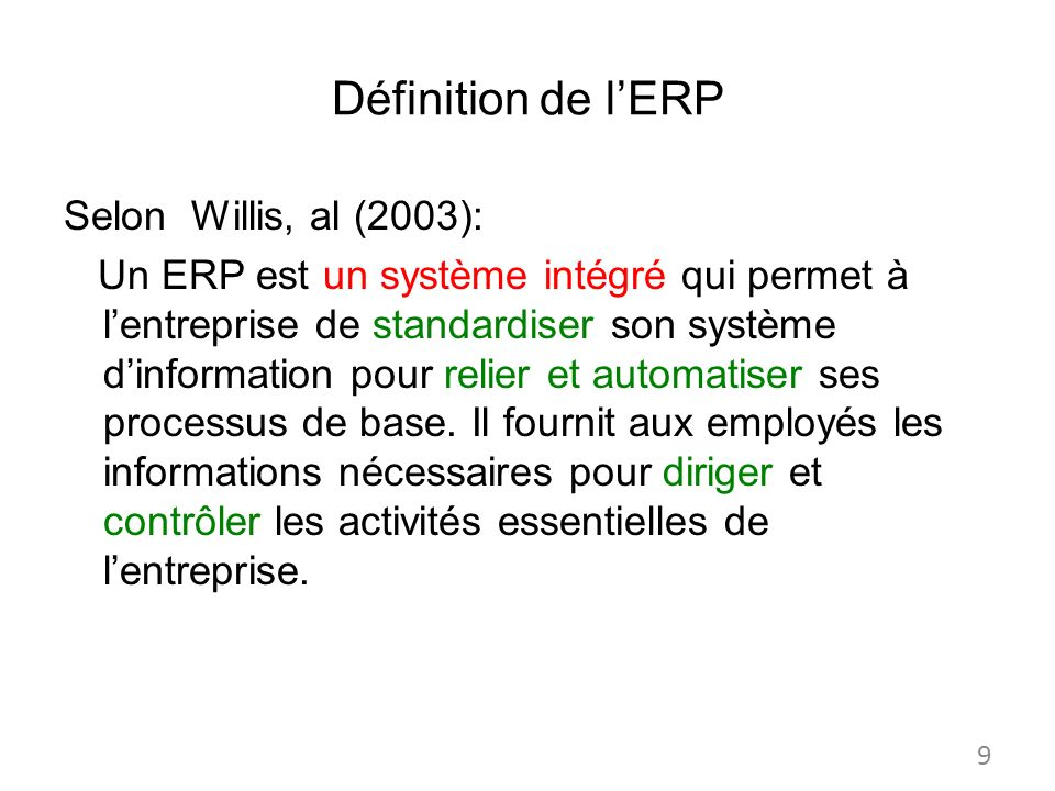 Définition de l'ERP