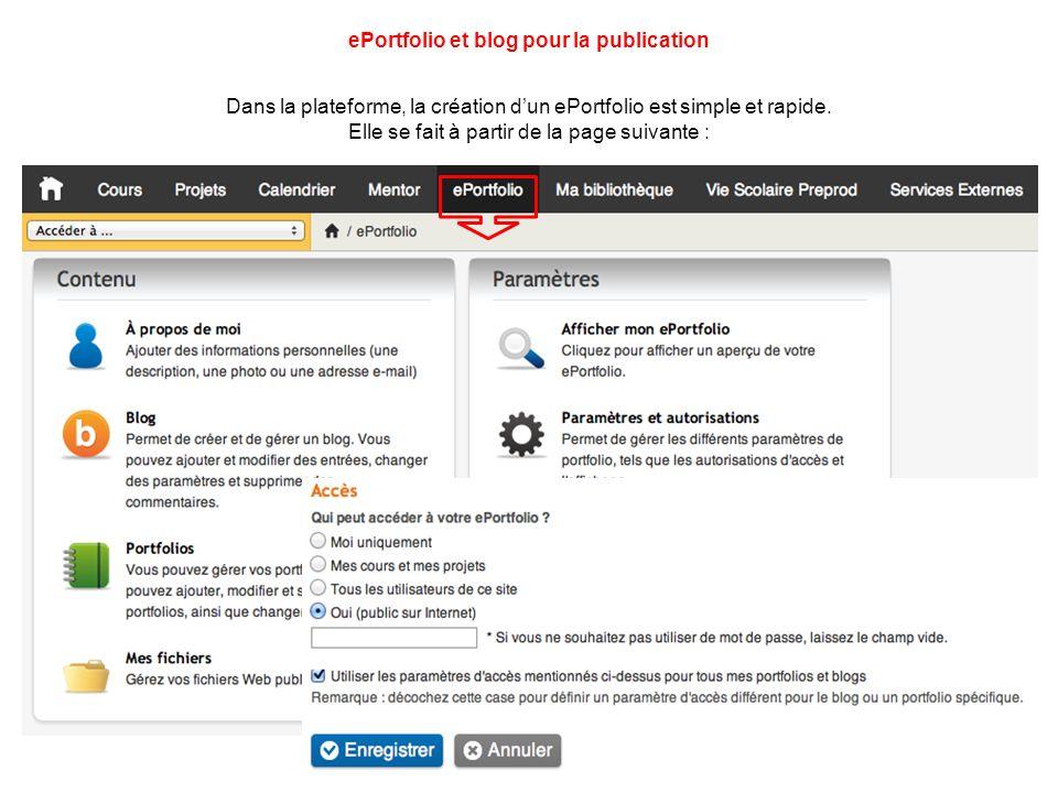 ePortfolio et blog pour la publication