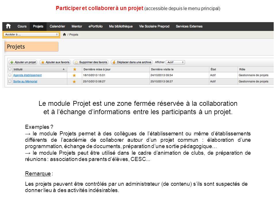 Le module Projet est une zone fermée réservée à la collaboration