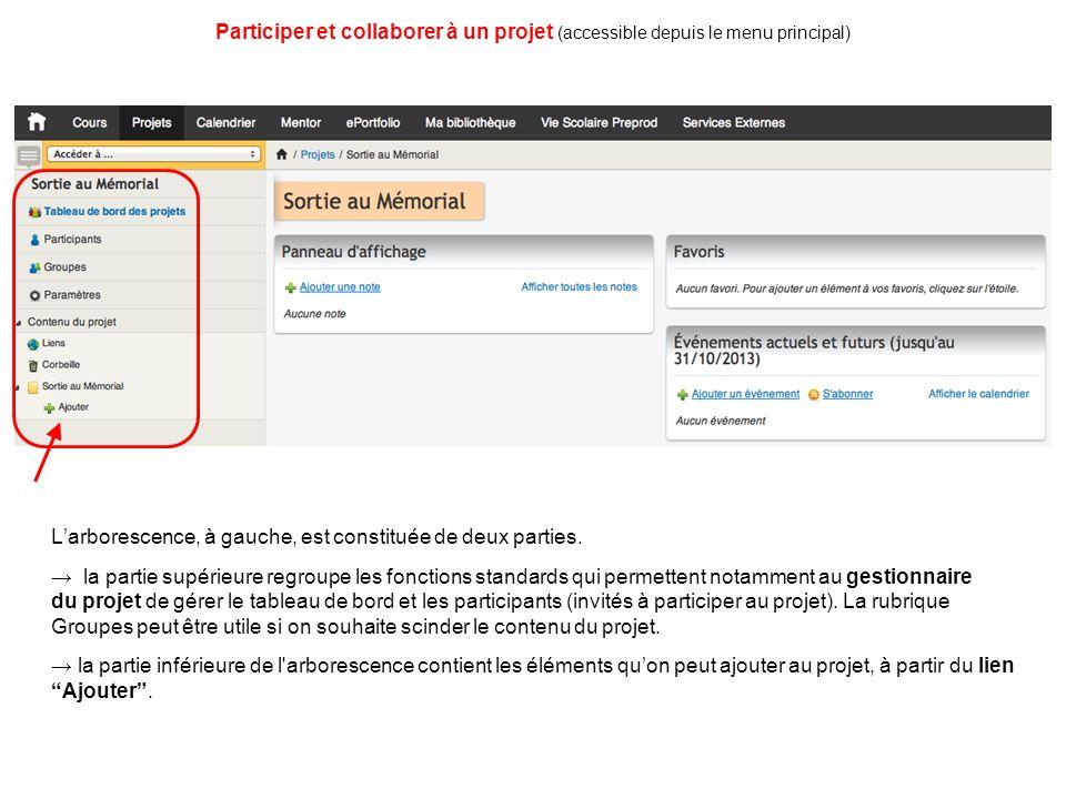 Participer et collaborer à un projet (accessible depuis le menu principal)