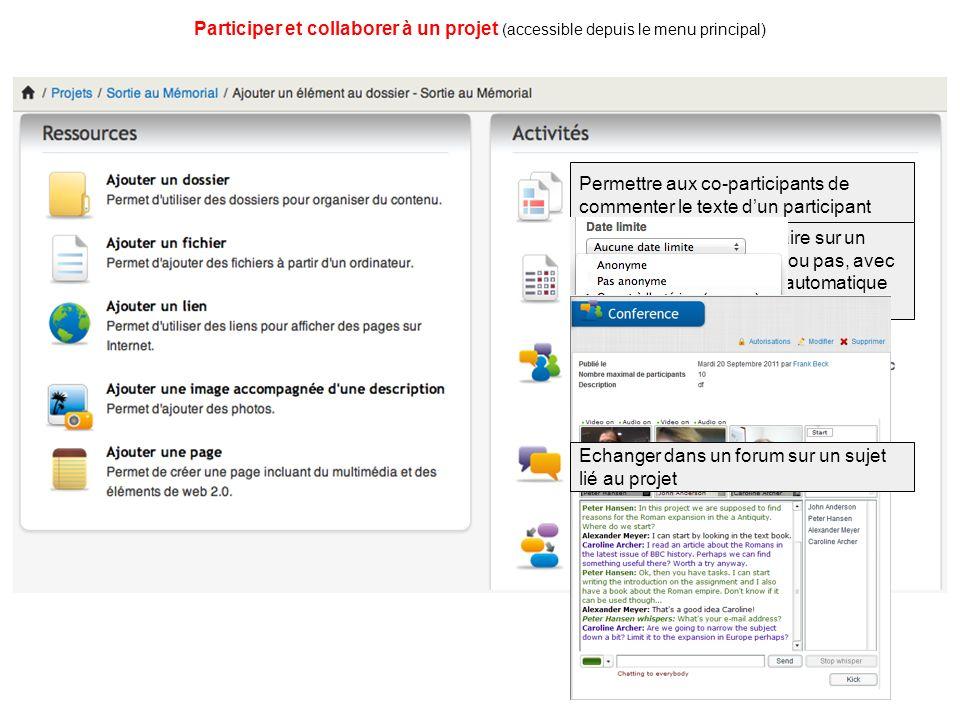 Permettre aux co-participants de commenter le texte d'un participant