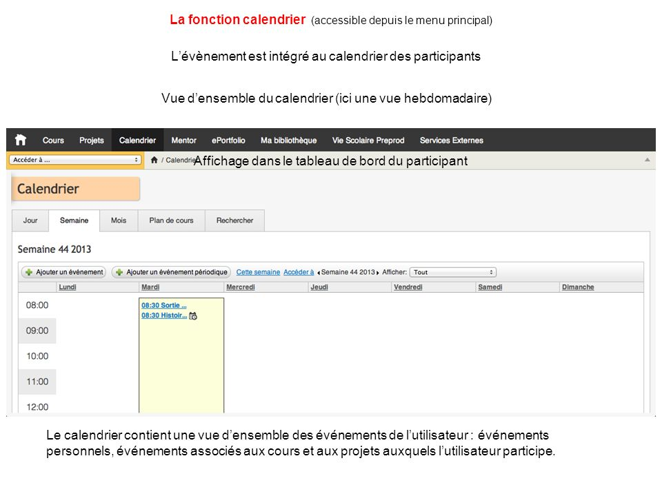 La fonction calendrier (accessible depuis le menu principal)