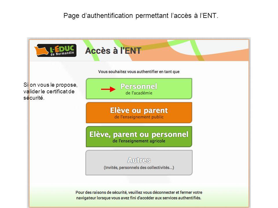 Page d'authentification permettant l'accès à l'ENT.
