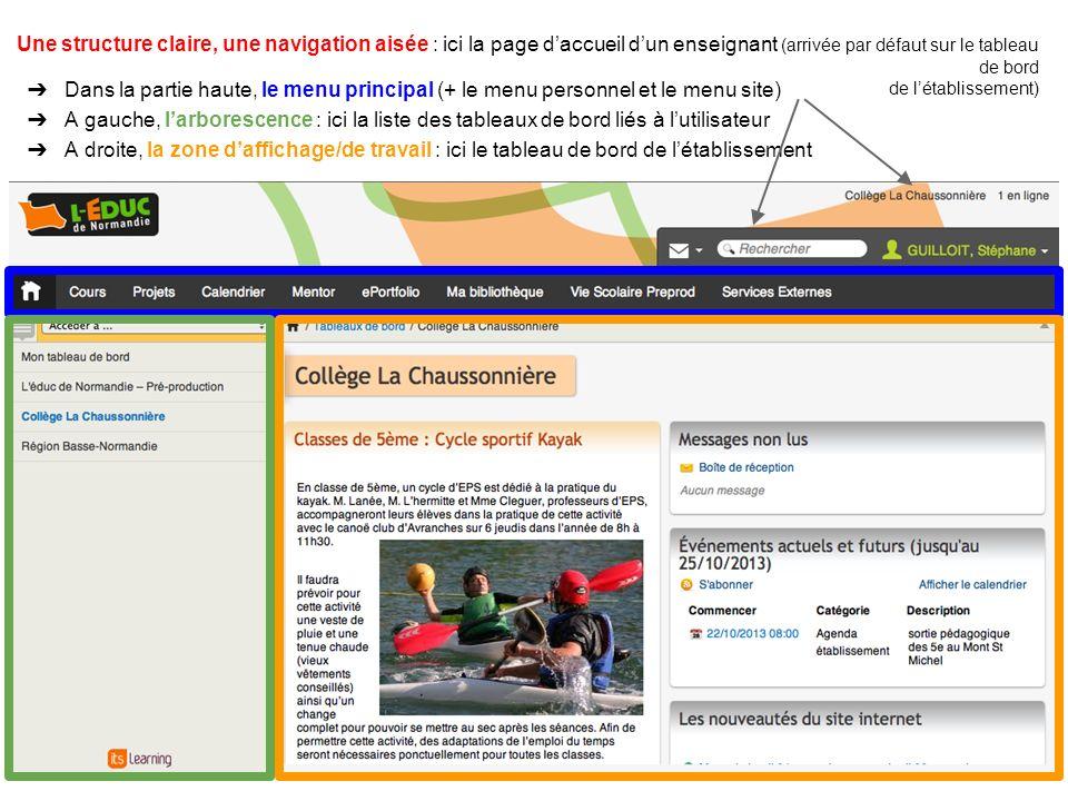 Une structure claire, une navigation aisée : ici la page d'accueil d'un enseignant (arrivée par défaut sur le tableau de bord