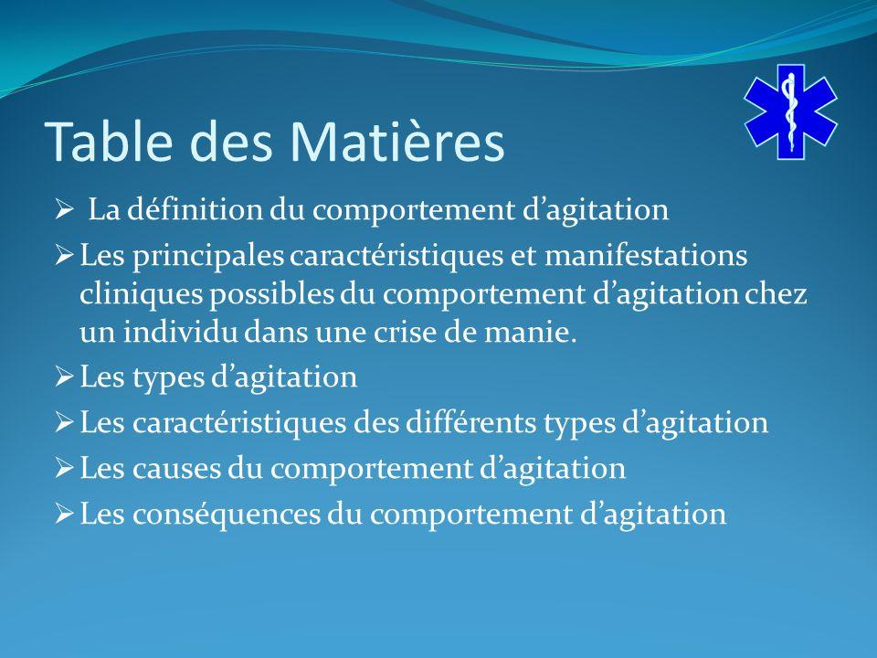 Table des Matières La définition du comportement d'agitation