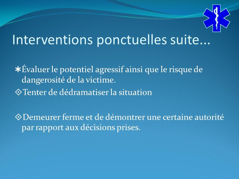 Interventions ponctuelles suite...