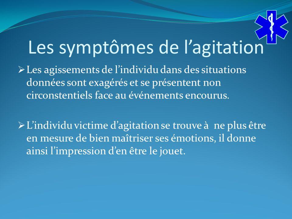 Les symptômes de l'agitation