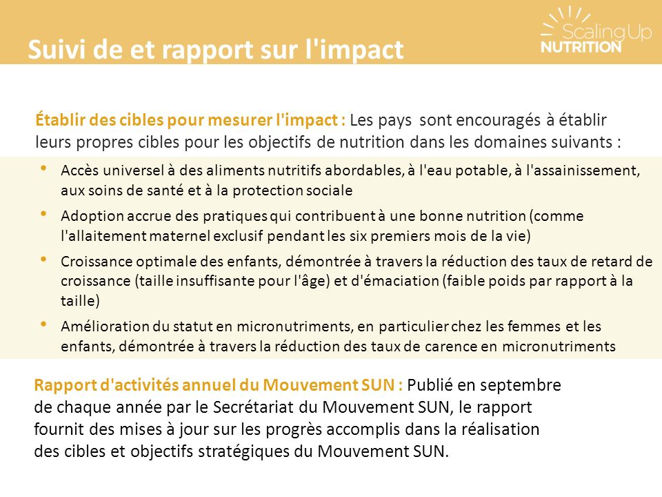 Suivi de et rapport sur l impact