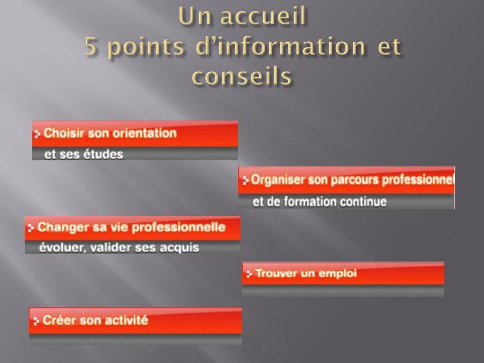 Un accueil 5 points d'information et conseils