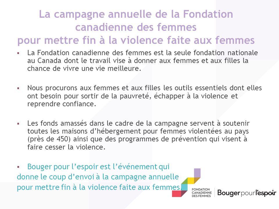 La campagne annuelle de la Fondation canadienne des femmes pour mettre fin à la violence faite aux femmes