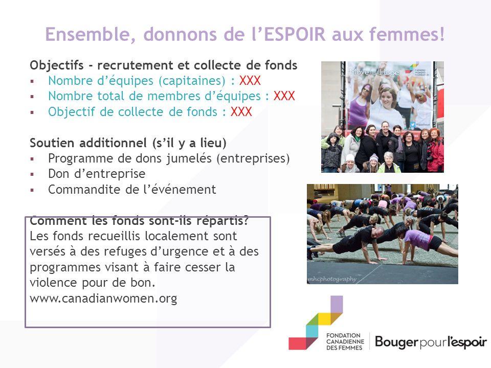 Ensemble, donnons de l'ESPOIR aux femmes!