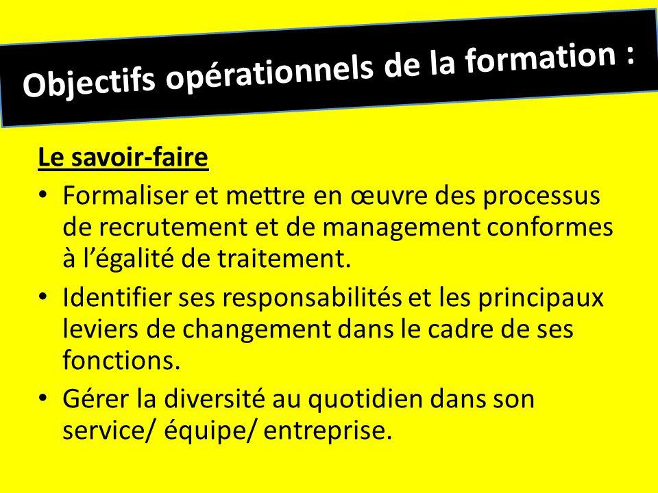 Objectifs opérationnels de la formation :