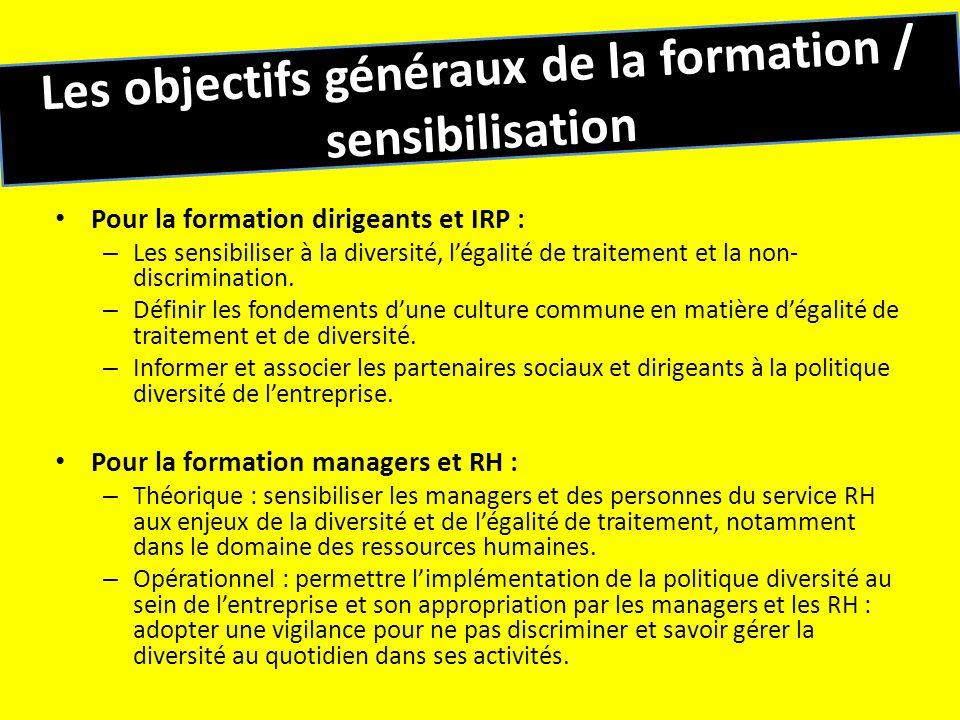 Les objectifs généraux de la formation / sensibilisation