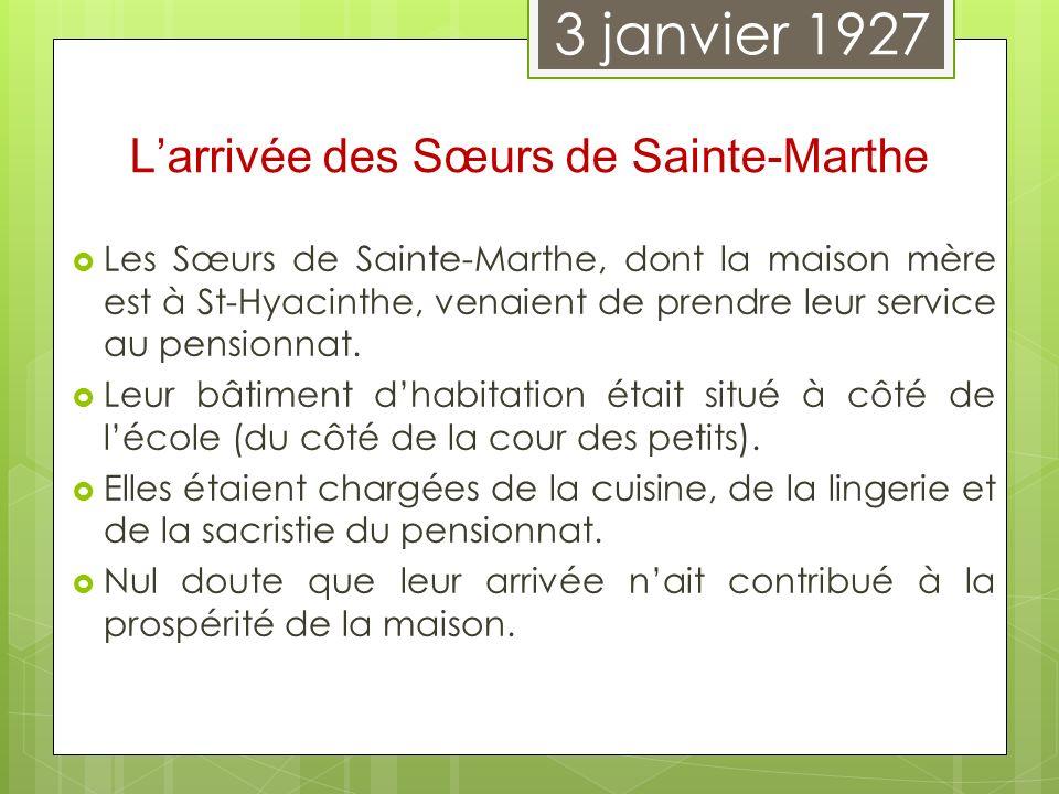 L'arrivée des Sœurs de Sainte-Marthe