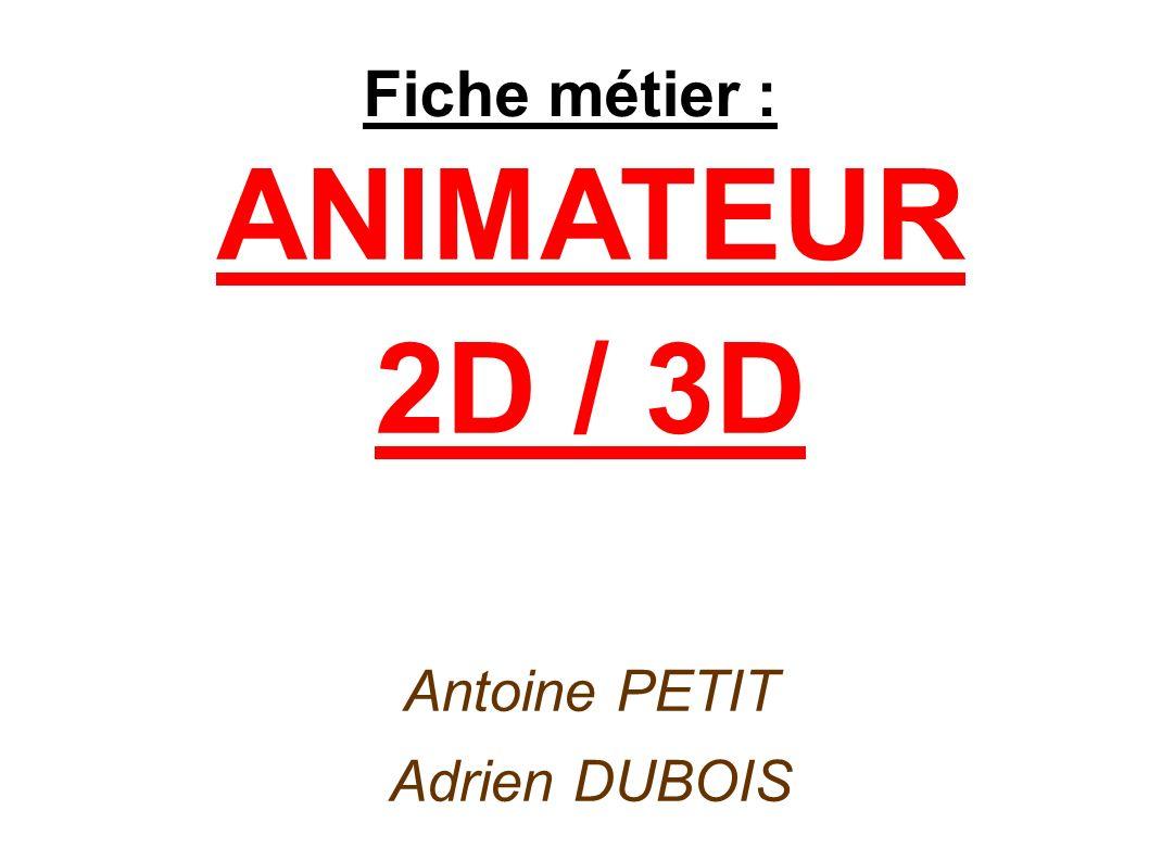 ANIMATEUR 2D / 3D Antoine PETIT Adrien DUBOIS