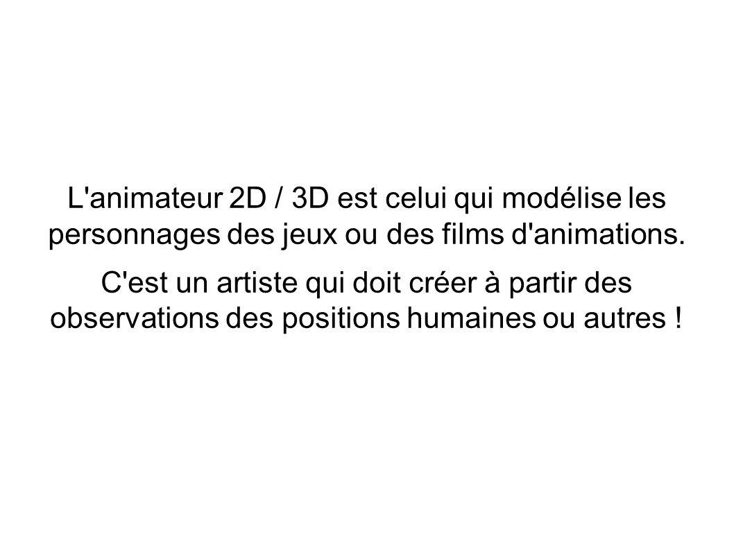 L animateur 2D / 3D est celui qui modélise les personnages des jeux ou des films d animations.