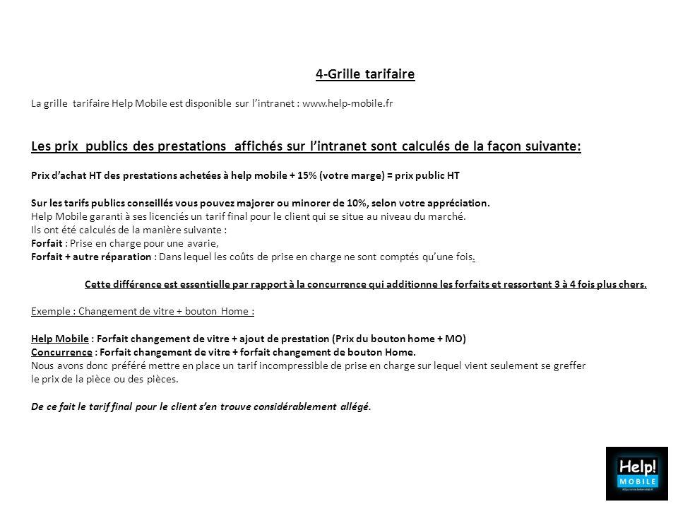 4-Grille tarifaire La grille tarifaire Help Mobile est disponible sur l'intranet : www.help-mobile.fr.