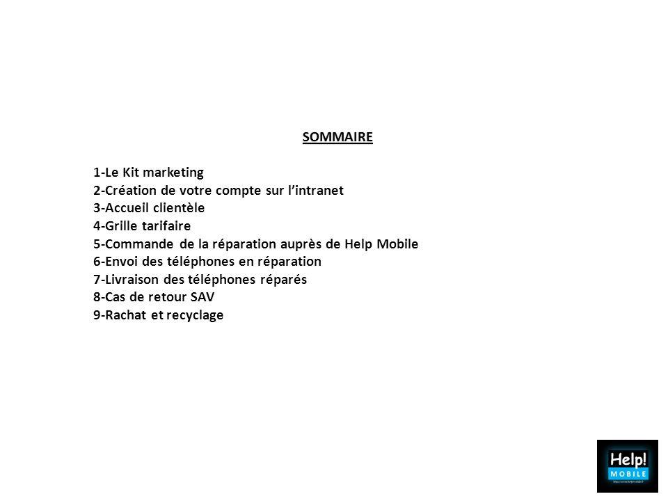 SOMMAIRE 1-Le Kit marketing. 2-Création de votre compte sur l'intranet. 3-Accueil clientèle. 4-Grille tarifaire.