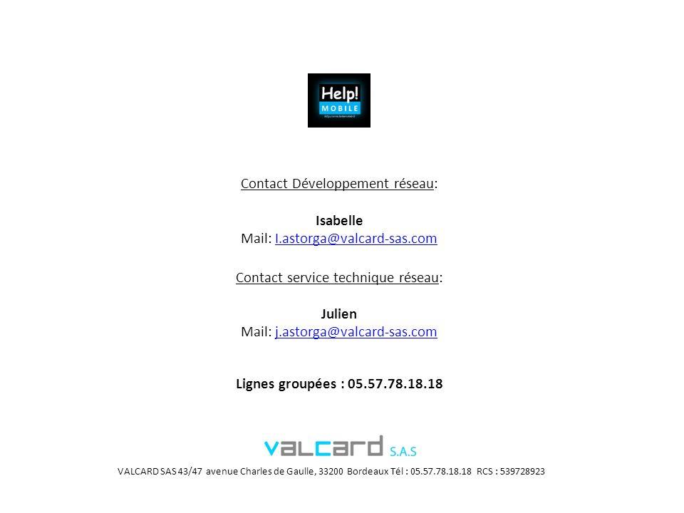 Contact Développement réseau: Isabelle Mail: I.astorga@valcard-sas.com